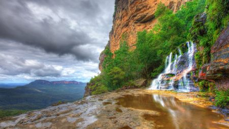 falls, trees, rocks