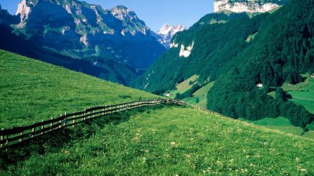 fence, mountains, slopes