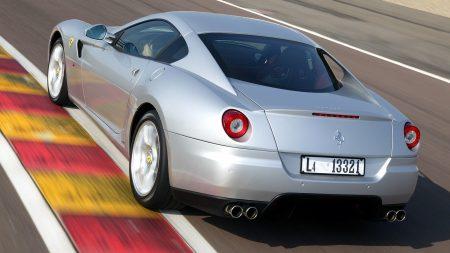 ferrari, gray, rear view