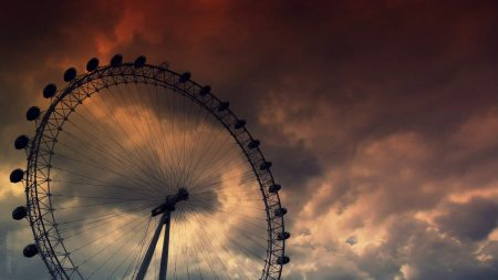 ferris wheel, sky, clouds