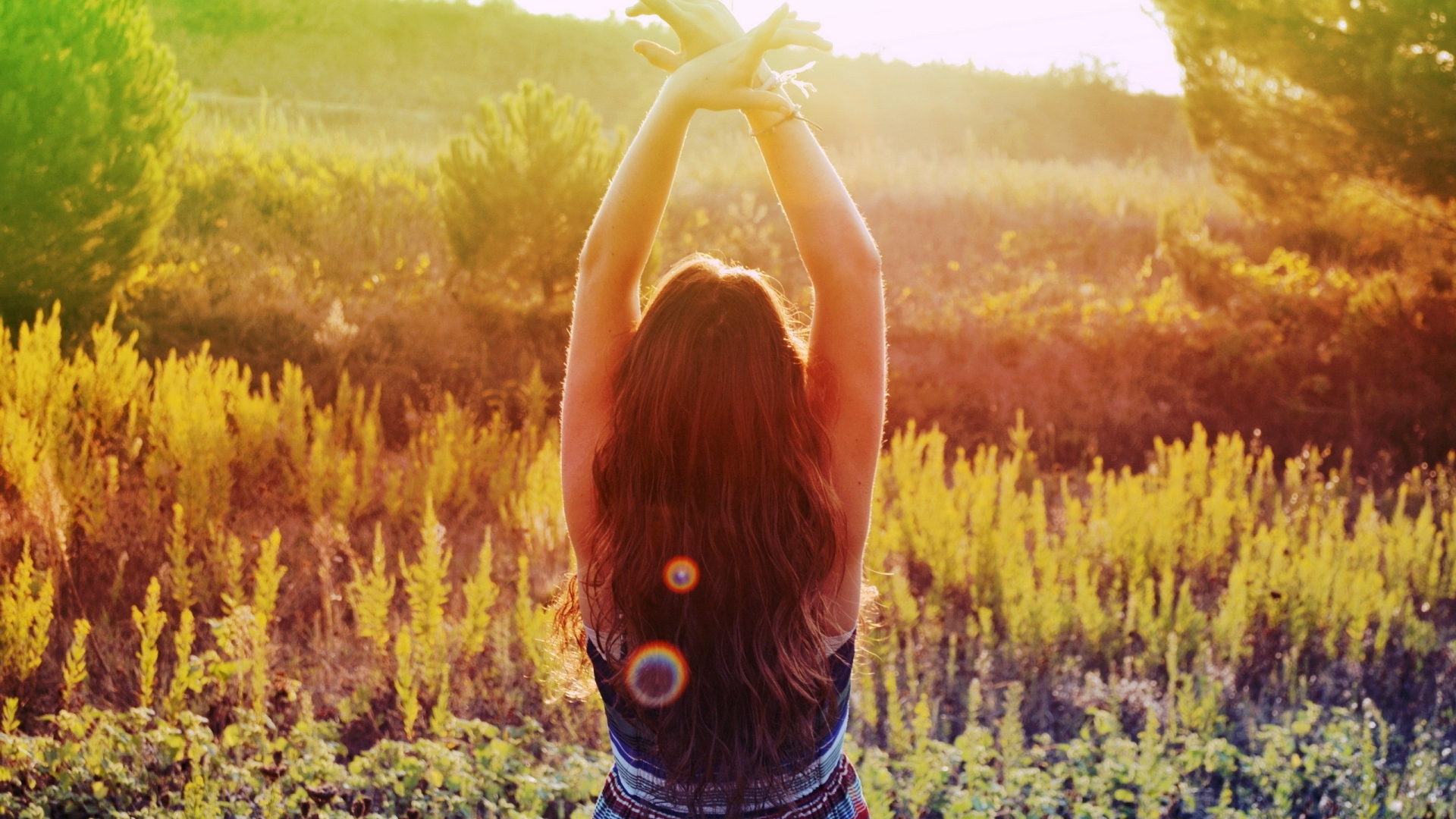 Download Wallpaper 1920x1080 Field Grass Meditation Summer Girl Dress Full Hd 1080p Hd Background