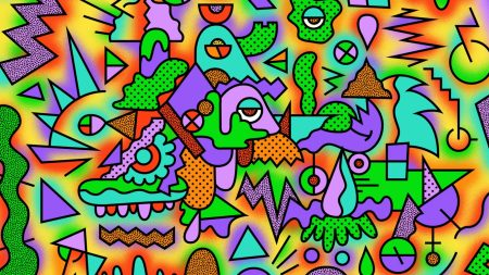 figurines, colorful, drawing