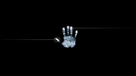 fingerprint, hand, black white