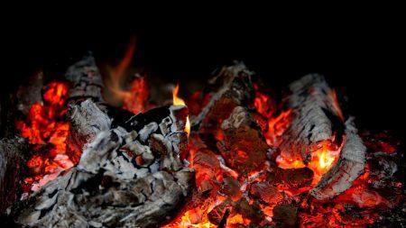 fire, embers glow, flame