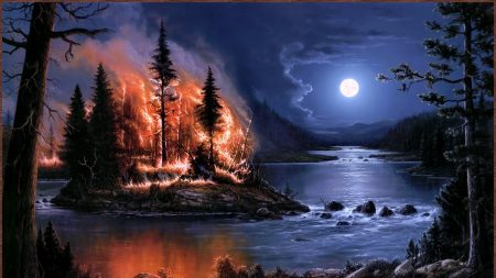 fire, full moon, night