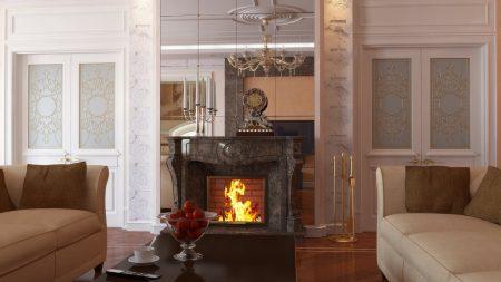 fireplace, bathroom, sofa
