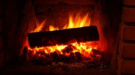 fireplace, wood, embers