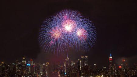 fireworks, sky, city