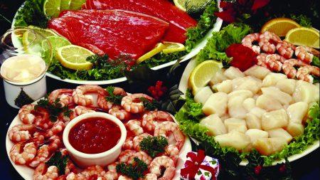 fish, shrimp, lemon
