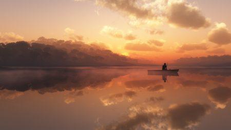 fisherman, fog, morning