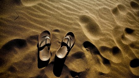 flip flops, sand, beach