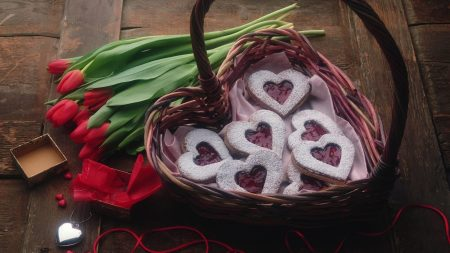 flowers, basket, heart