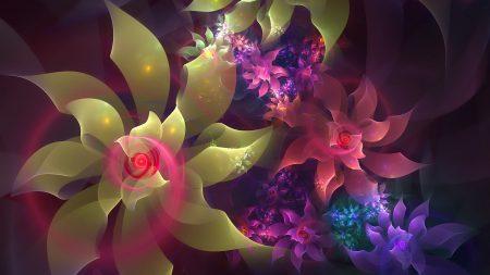 flowers, fractal, line