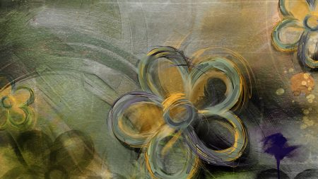 flowers, painted, yellow
