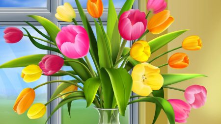 flowers, tulips, colorful