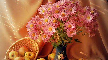 flowers, vase, fruit