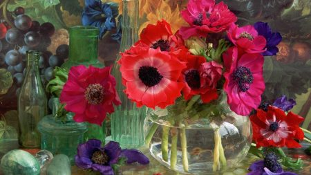 flowers, vase, picture