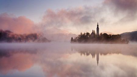 fog, water, castle