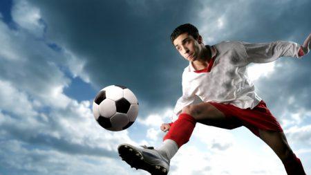 football player, ball, blow