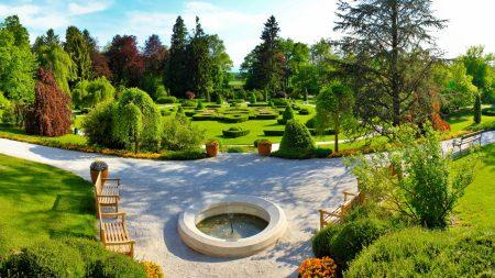 fountain, benches, garden