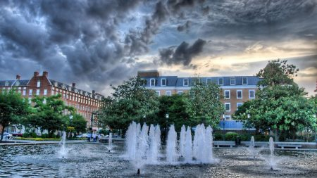 fountain, building, trees