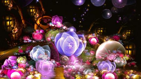 fractal, flowers, smoke
