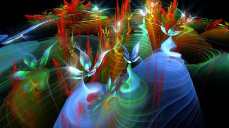 fractal, wings, smoke