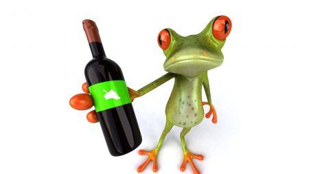 frog, bottle, wine