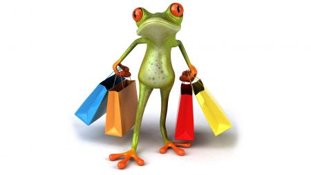 frog, shopping, bags