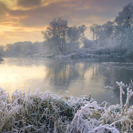 frost, river, morning