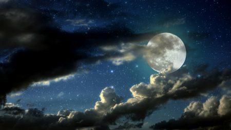 full moon, stars, clouds