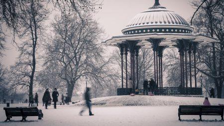 gazebo, winter, city