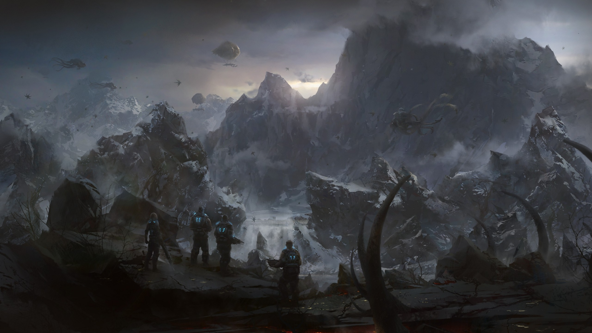 Earnings Disclaimer >> Download Wallpaper 1920x1080 gears of war, mountains ...