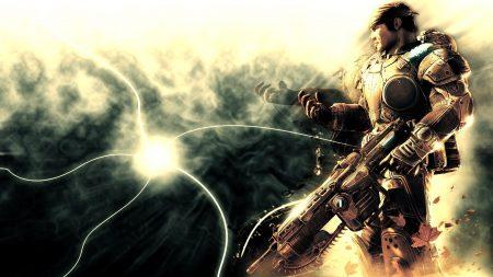 gears of war, soldier, gun