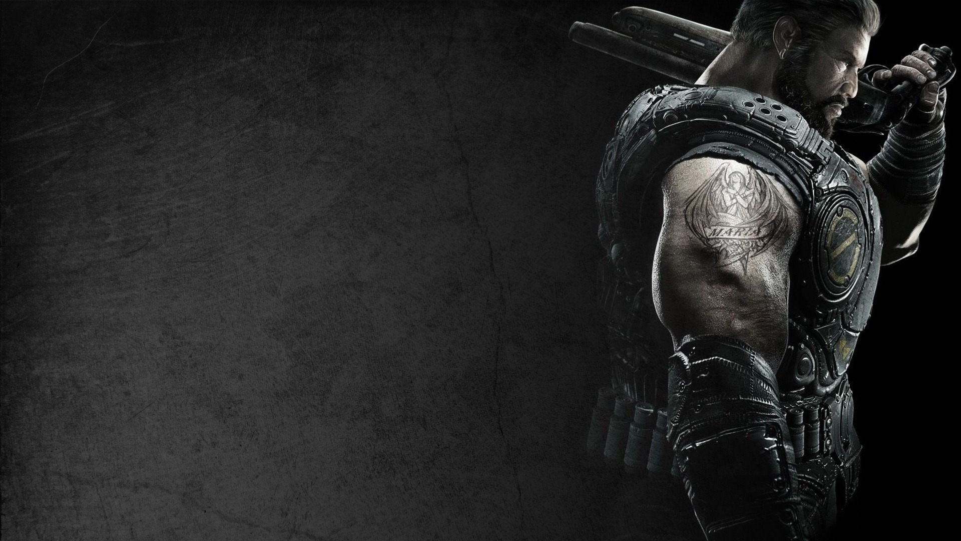 Download Wallpaper 1920x1080 Gears Of War, Soldier, Tattoo