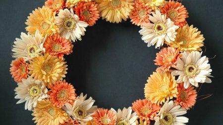 gerbera, flowers, wreath