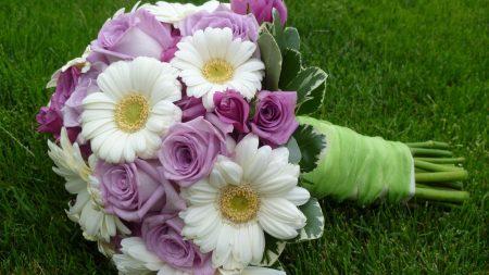 gerbera, roses, bouquet