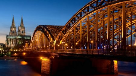 germany, night, bridge