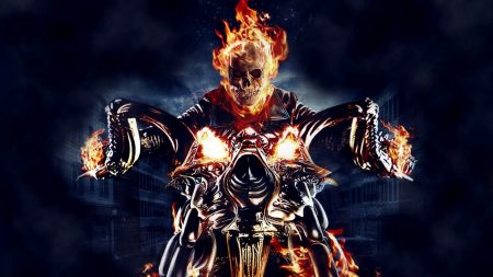 ghost rider, motorcycle, fire