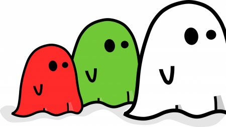 ghosts, colorful, graphic