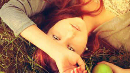 girl, apple, grass