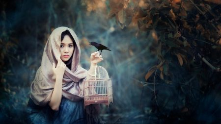 girl, asian, bird
