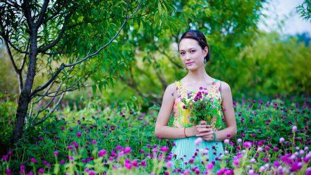 girl, asian, flowers