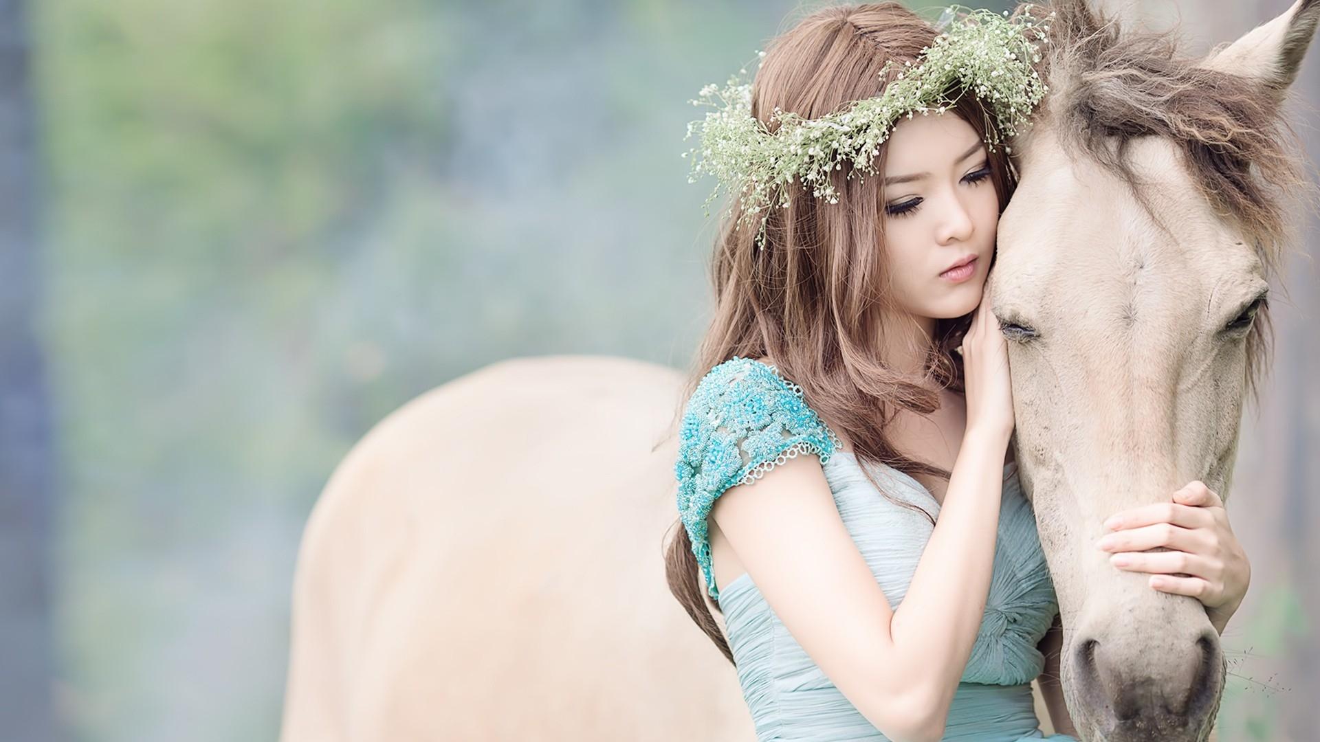 Download Wallpaper 1920x1080 girl, asian, horse, wreath