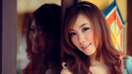girl, asian, reflection