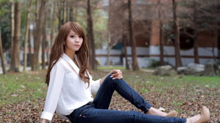 girl, asian, wood