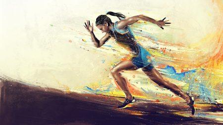 girl, athlete, running
