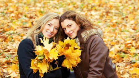 girl, autumn, leaves