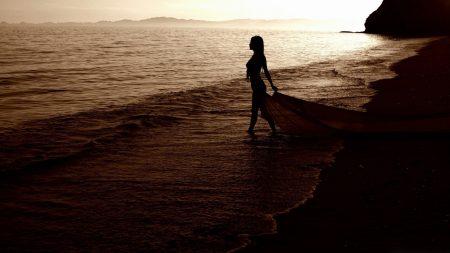 girl, beach, sea