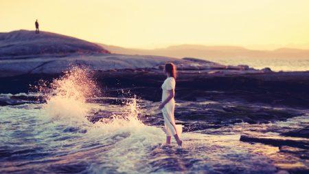 girl, beach, waves